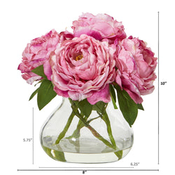 "10"" Peony Artificial Arrangement in Glass Vase"