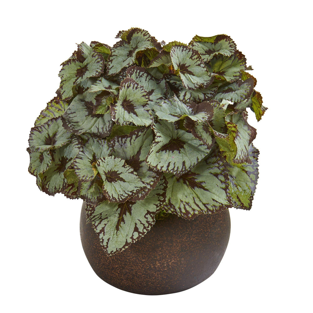 "10"" Rex Begonia Artificial Plant in Stone Planter"