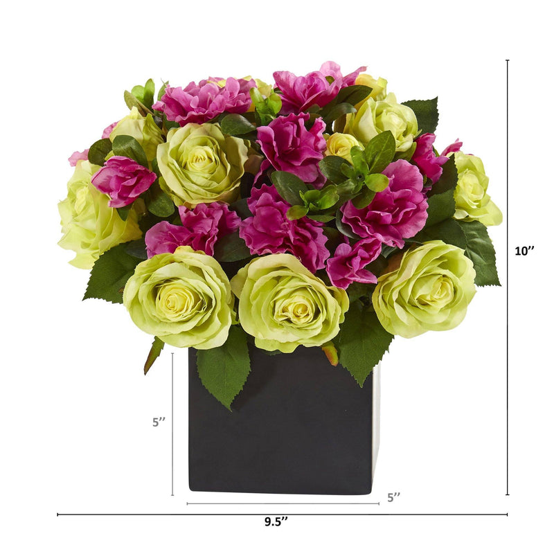 "10"" Rose and Azalea Artificial Arrangement in Black Vase"