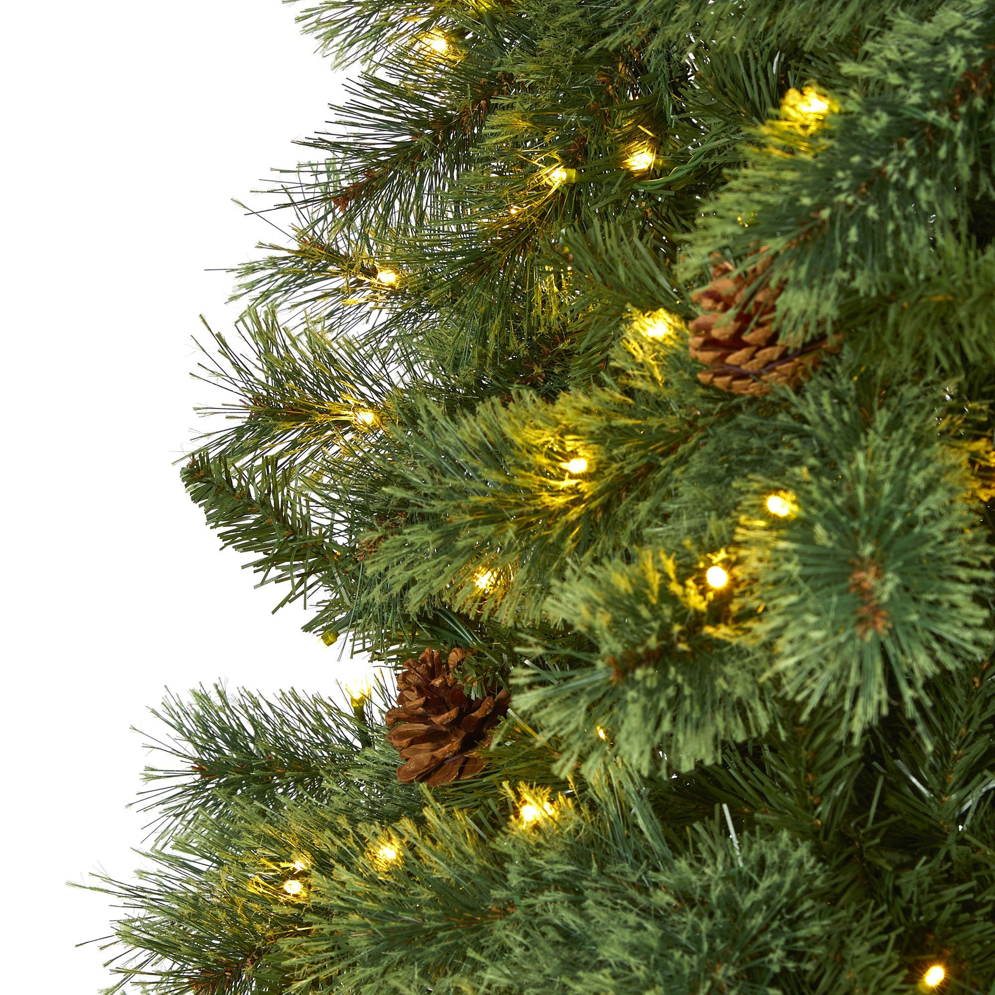 10 White Mountain Pine Artificial Christmas Tree With 850 Clear Led Lights And Pine Cones Nearly Natural