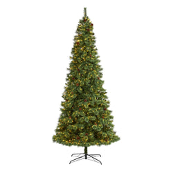 10' White Mountain Pine Artificial Christmas Tree with 850 Clear LED Lights and Pine Cones