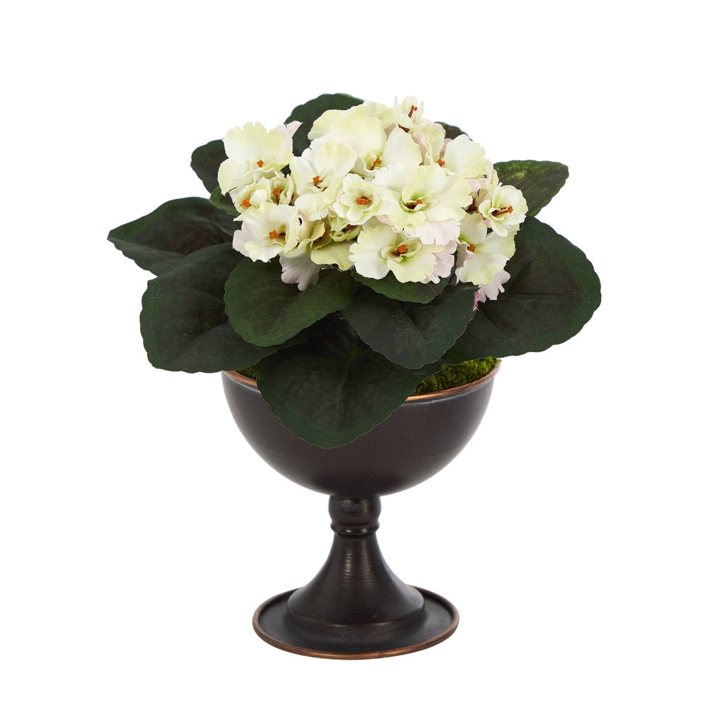 "11"" African Violet Artificial Plant in Metal Chalice"