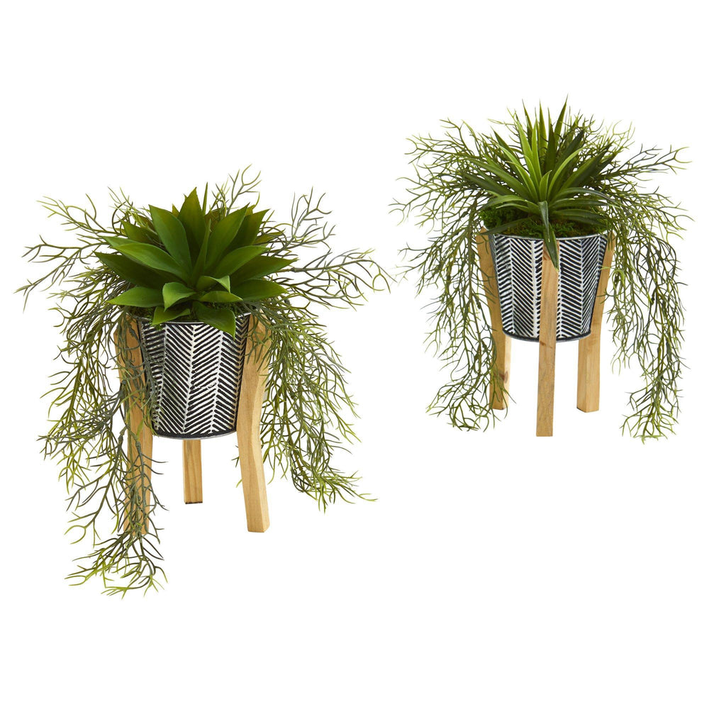 "11"" Agave Succulent Artificial Plant in Tin Planter with Legs (Set of 2)"