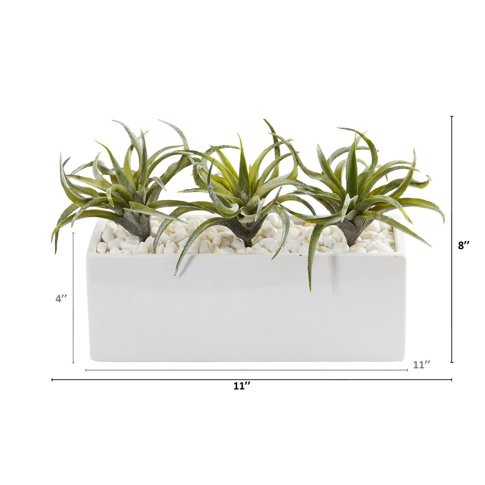 "11"" Air Plant Artificial Succulent in White Planter"