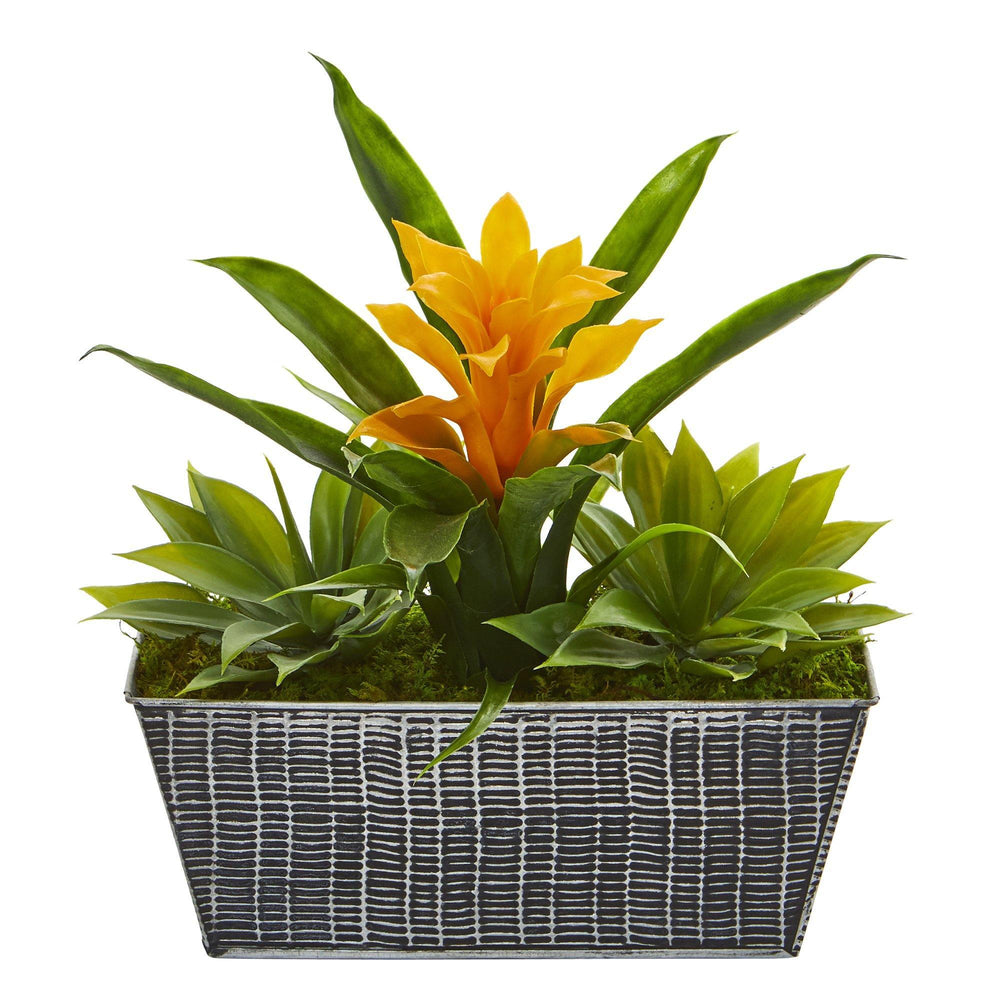11 Bromeliad And Agave Artificial Plant In Embossed Tin Planter Nearly Natural