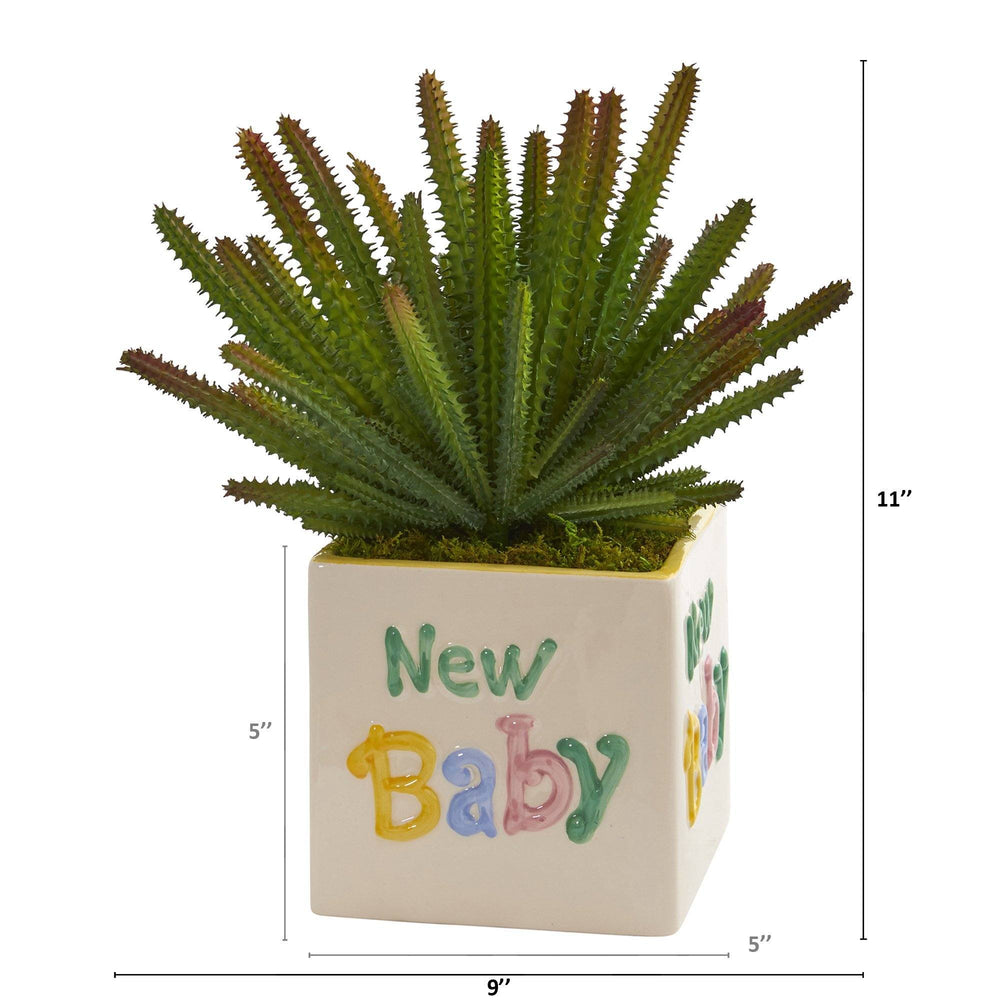 "11"" Cactus Artificial Plant in ""New Baby"" Planter"