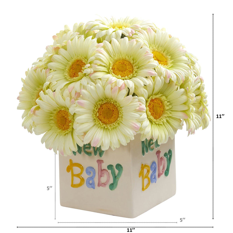 "11"" Gerber Daisy Artificial Arrangement in ""New Baby"" Vase"