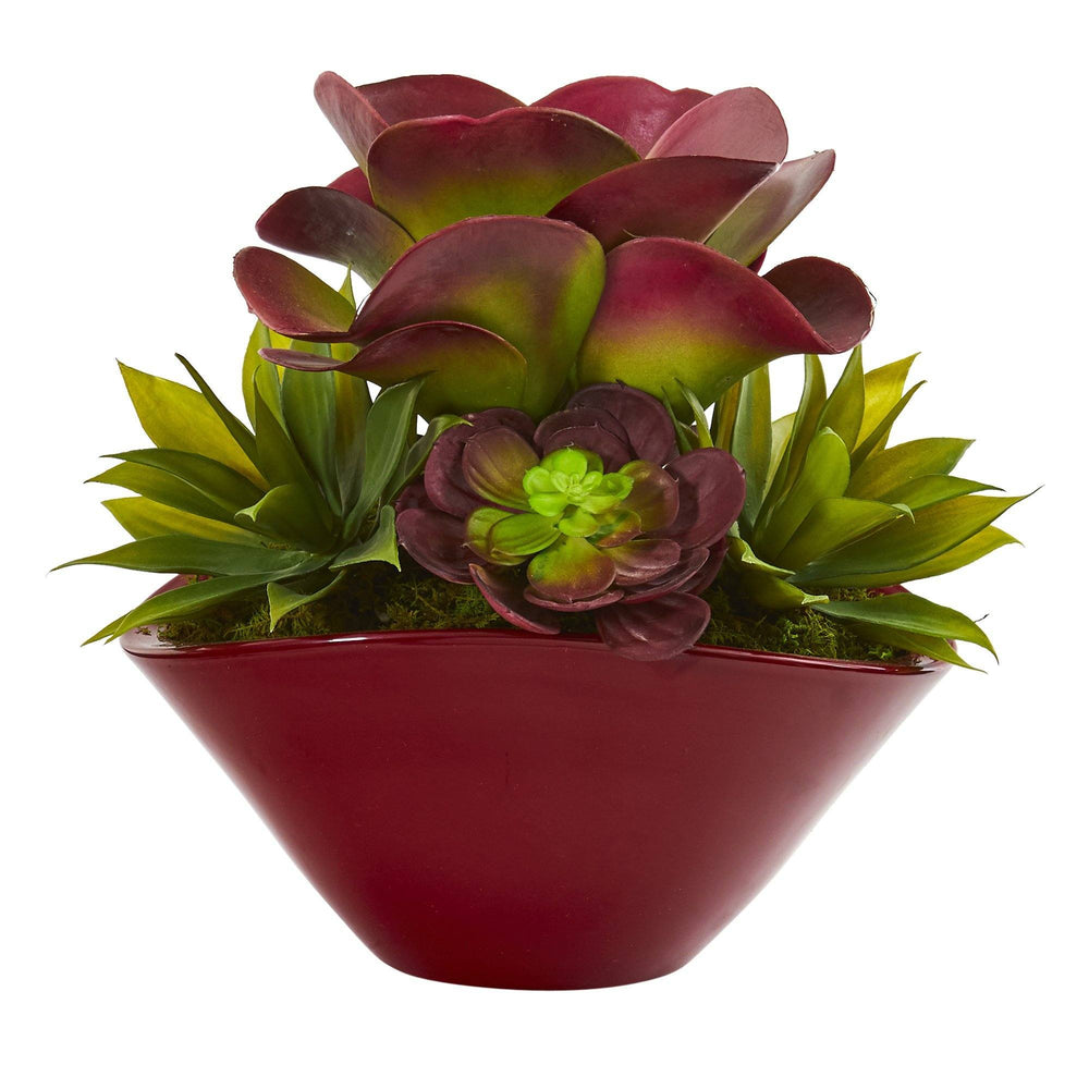 "11"" Mixed Succulent Artificial Plant in Burgundy Planter"