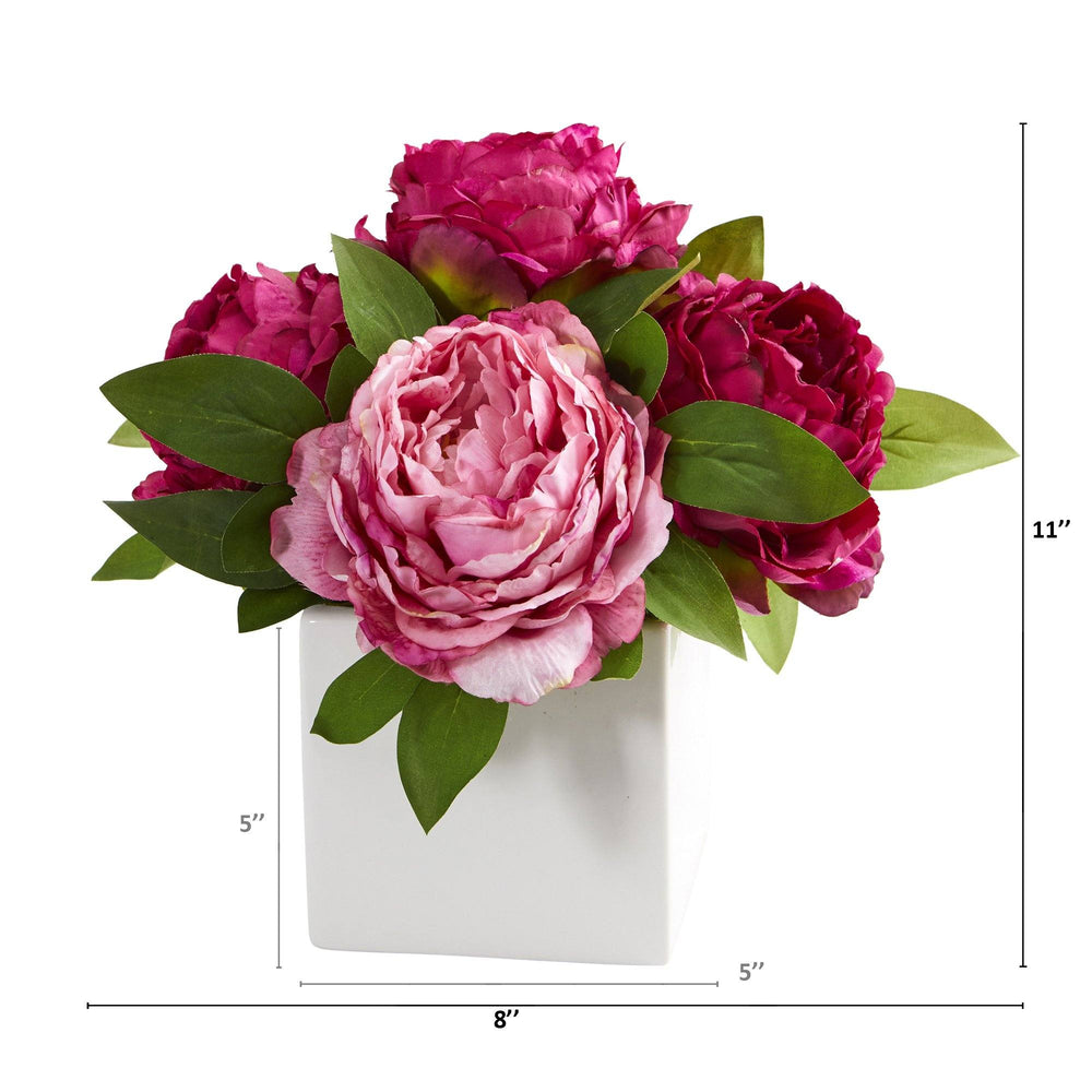 "11"" Peony Artificial Arrangement in White Vase"