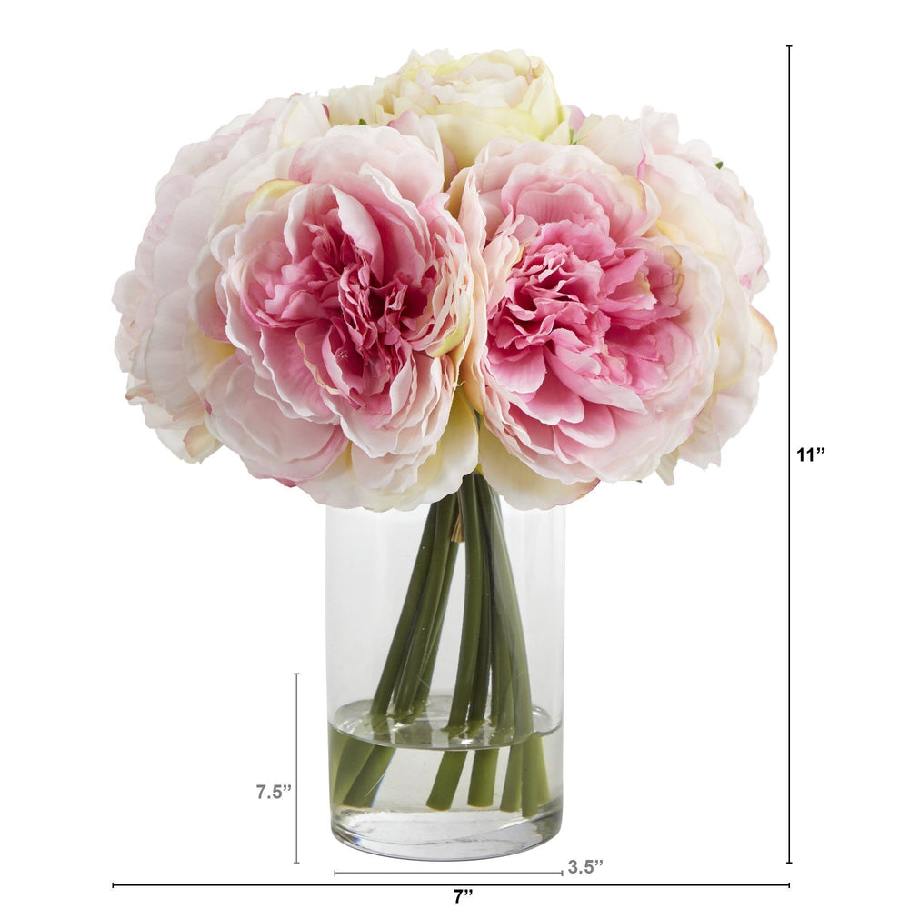 "11"" Peony Bouquet Artificial Arrangement in Glass Vase"