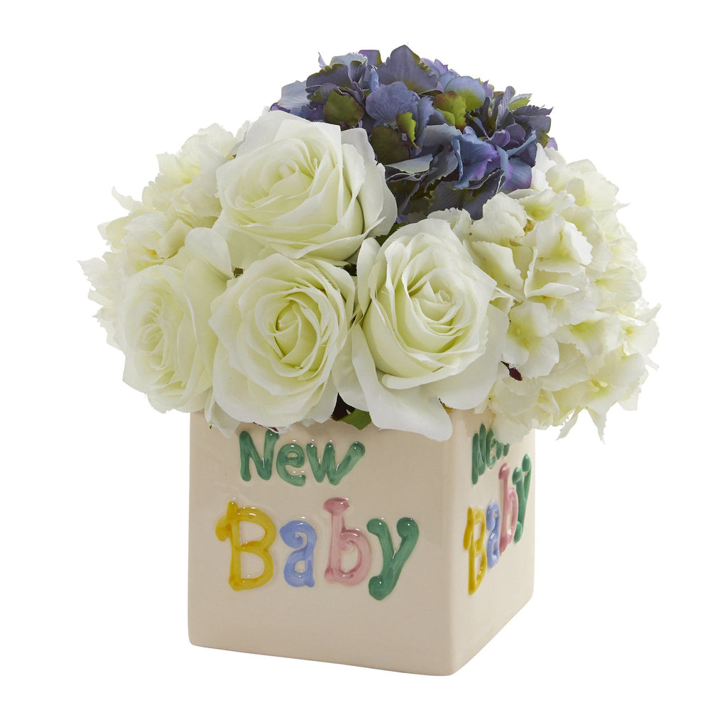 "11"" Rose and Hydrangea Artificial Arrangement in ""New Baby"" Vase"