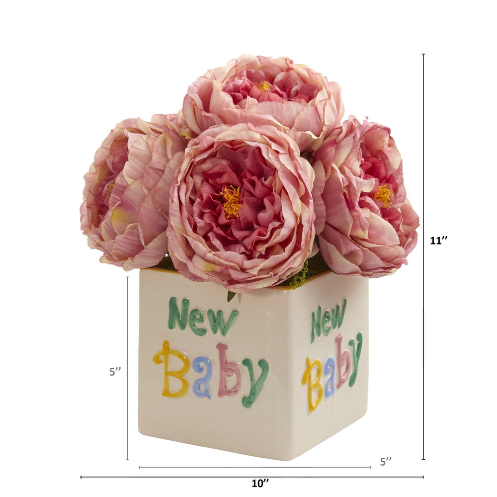 "11"" Rose Artificial Arrangement in ""New Baby"" Vase"