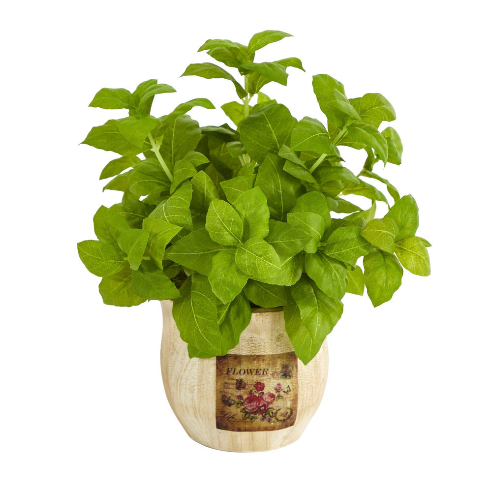 "12"" Basil Artificial Plant in Decorative Planter"