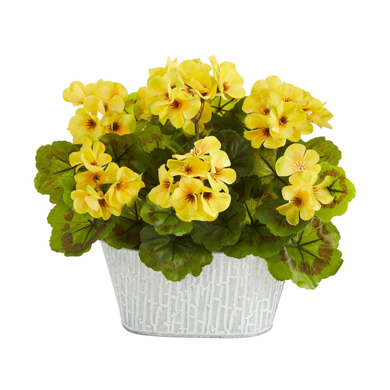 "12"" Geranium Artificial Plant in White Tin Planter UV Resistant (Indoor/Outdoor)"
