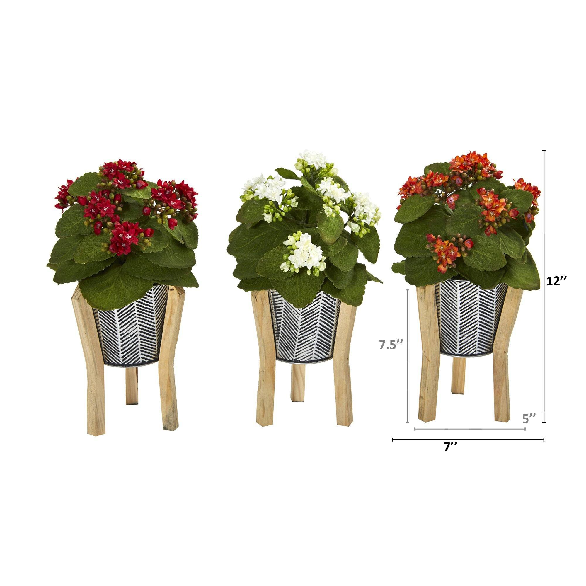 12 Kalanchoe Artificial Plant In Tin Planter With Legs Set Of 3