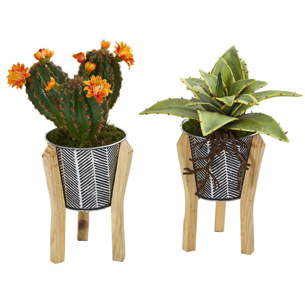 12 Mixed Succulent Artificial Plant In Tin Planter With Legs Set Of 2 Nearly Natural
