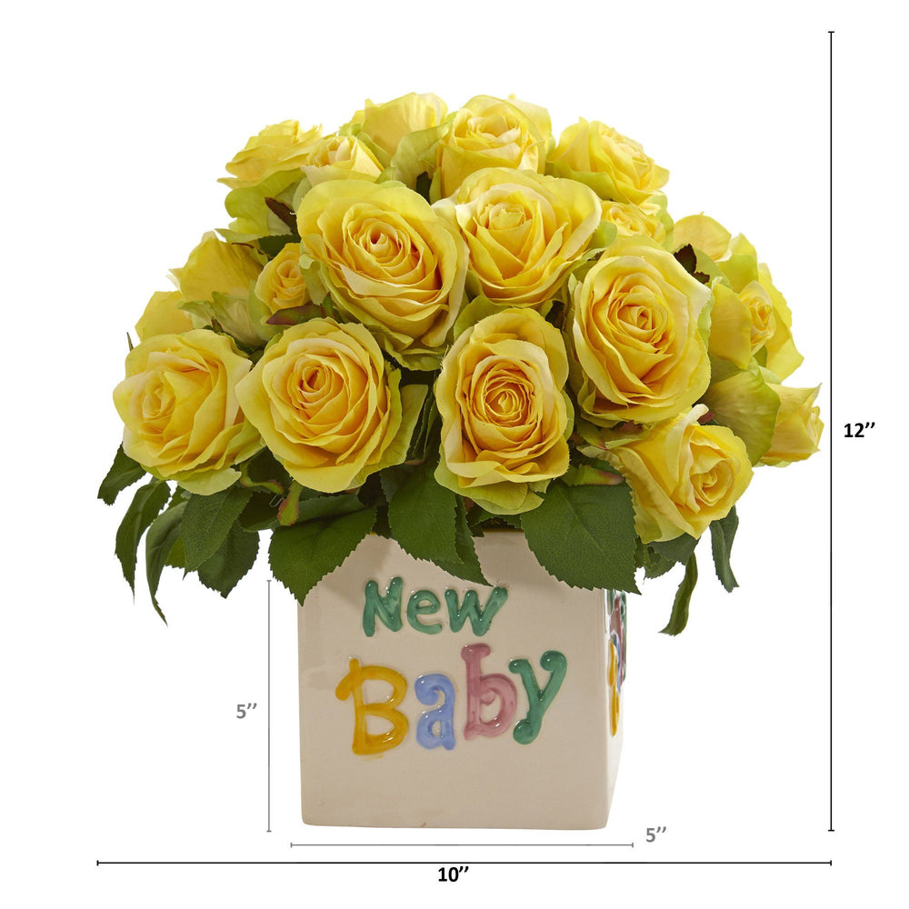 "12"" Rose Artificial Arrangement in ""New Baby"" Vase"