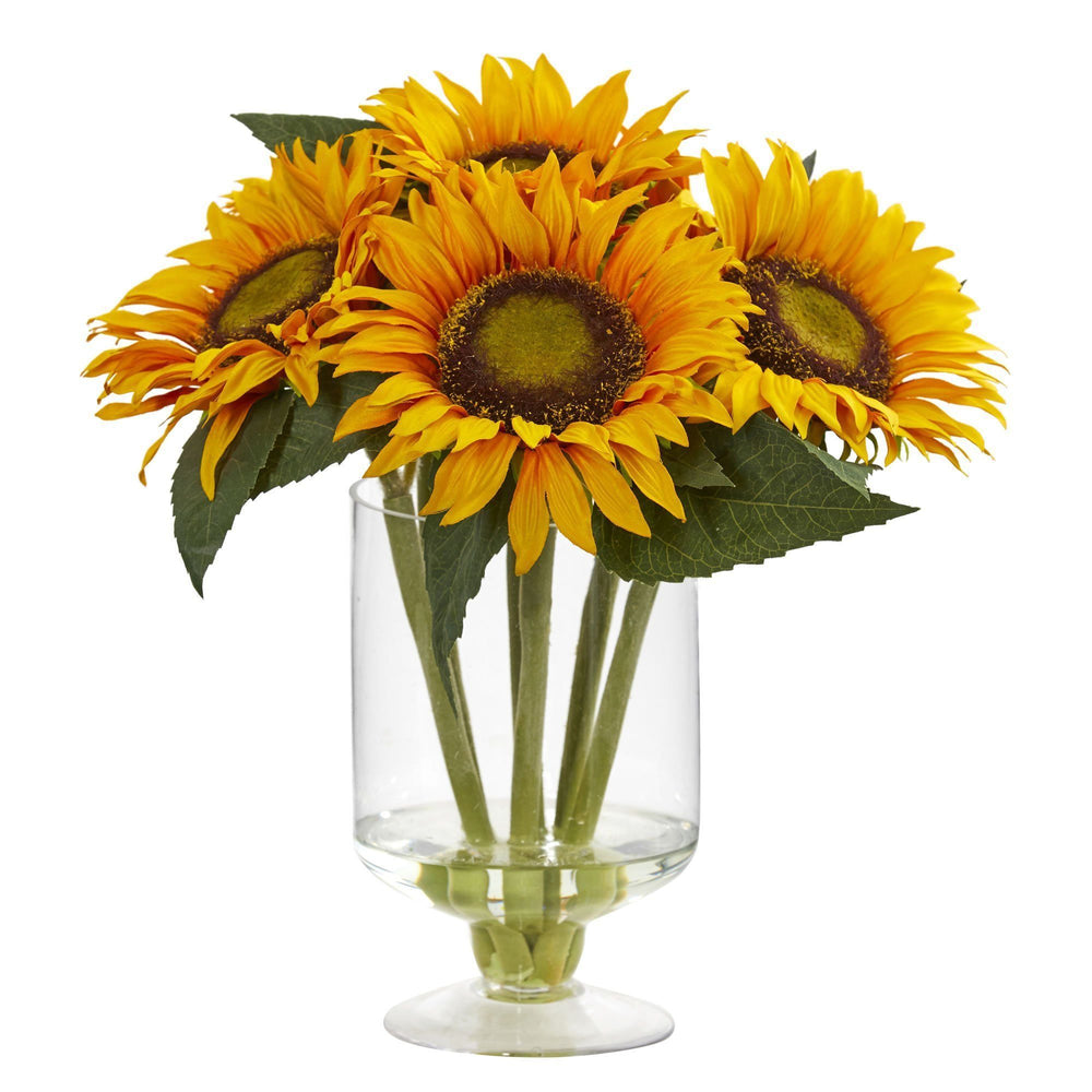 "12"" Sunflower Faux Arrangement in Vase"