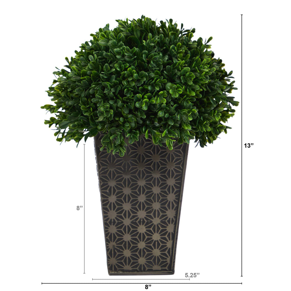 "13"" Boxwood Topiary Artificial Plant in Embossed Black Planter UV Resistant (Indoor/Outdoor)"