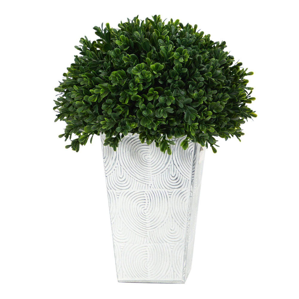 "13"" Boxwood Topiary Artificial Plant in Embossed White Planter UV Resistant (Indoor/Outdoor)"