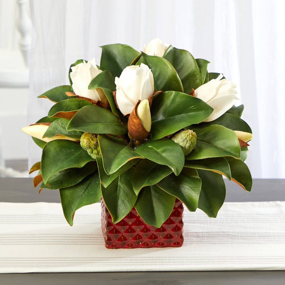 "13"" Magnolia Bud Artificial Plant in Red Planter"