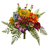 "13"" Mixed Flowers Artificial Bush (Set of 2)"