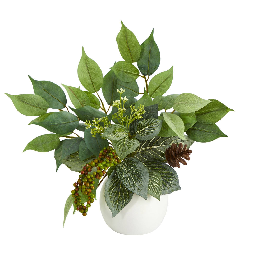 "13"" Mixed Greens Artificial Plant in White Planter"
