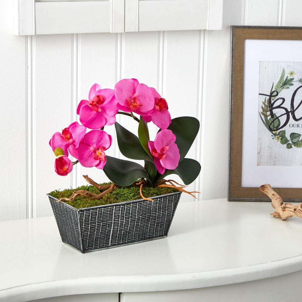 "13"" Phalaenopsis Orchid Artificial Arrangement in Embossed Tin Vase"