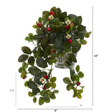 "13"" Strawberry Artificial Plant in Vintage Hanging Metal Planter"