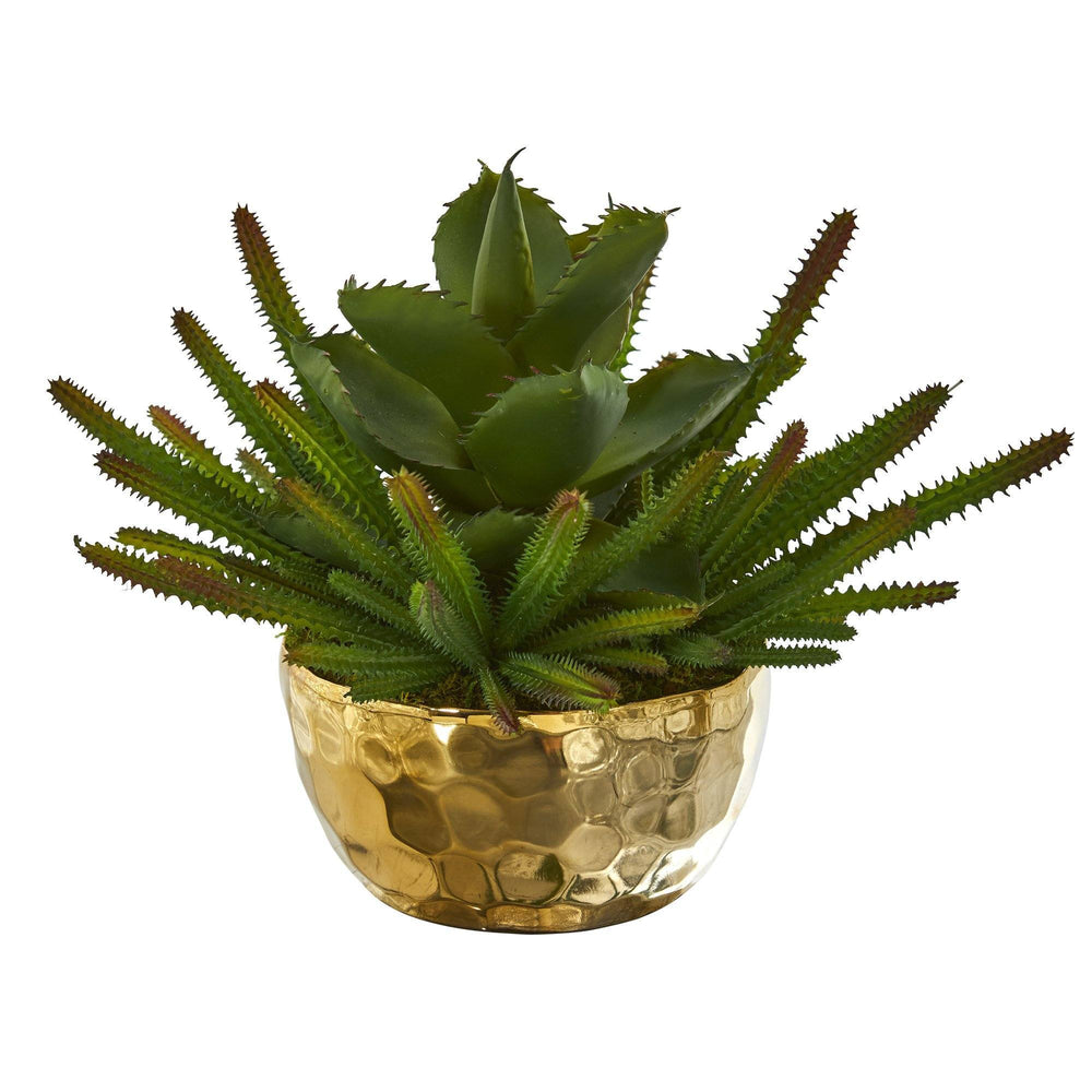 "13"" Succulent Artificial Plant in Gold Bowl"