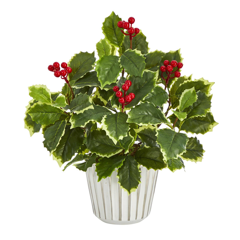 "13"" Variegated Holly Leaf Artificial Plant in White Planter with Silver Trimming (Real Touch)"