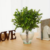 "14"" Boxwood Artificial Plant in Glass Planter (Indoor/Outdoor)"