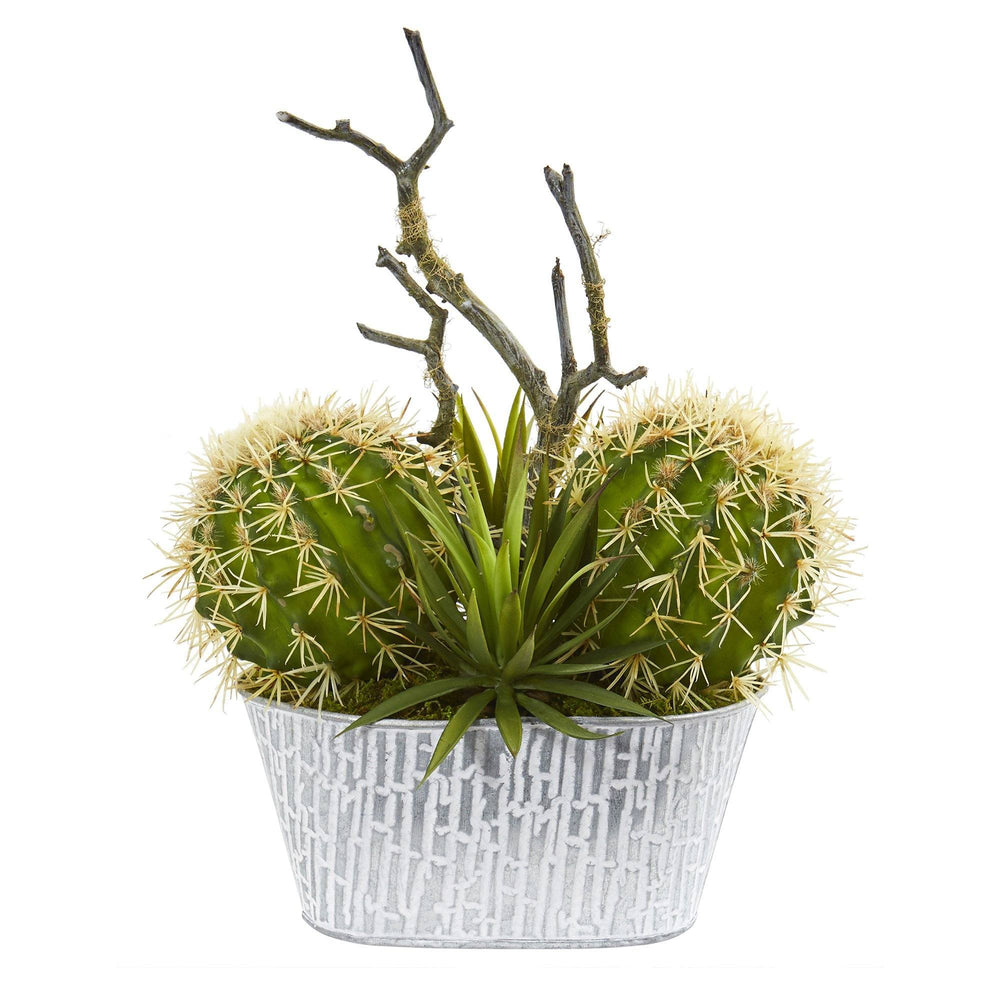 14 Cactus And Agave Succulent Artificial Plant In White Tin