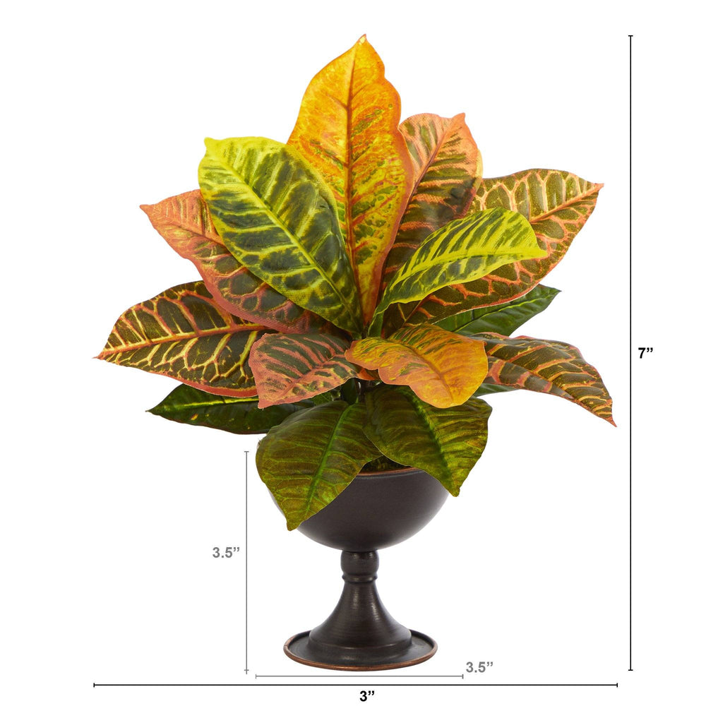 "14"" Garden Croton Artificial Plant in Metal Chalice (Real Touch)"