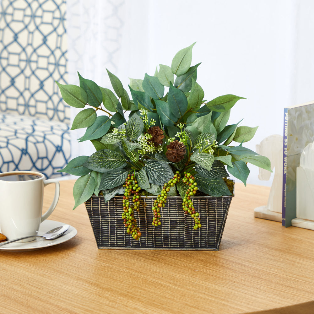 "14"" Mixed Ficus and Fittonia Artificial Plant in Embossed Tin Planter"
