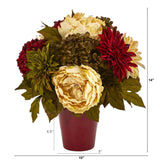"14"" Peony, Hydrangea and Dahlia Artificial Arrangement in Burgundy Vase"