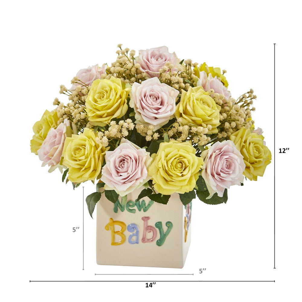 "14"" Rose and Gypsophillia Artificial Arrangement in ""New Baby"" Vase"
