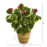 "14"" Variegated Holly Leaf Artificial Plant in Ceramic Planter (Real Touch)"