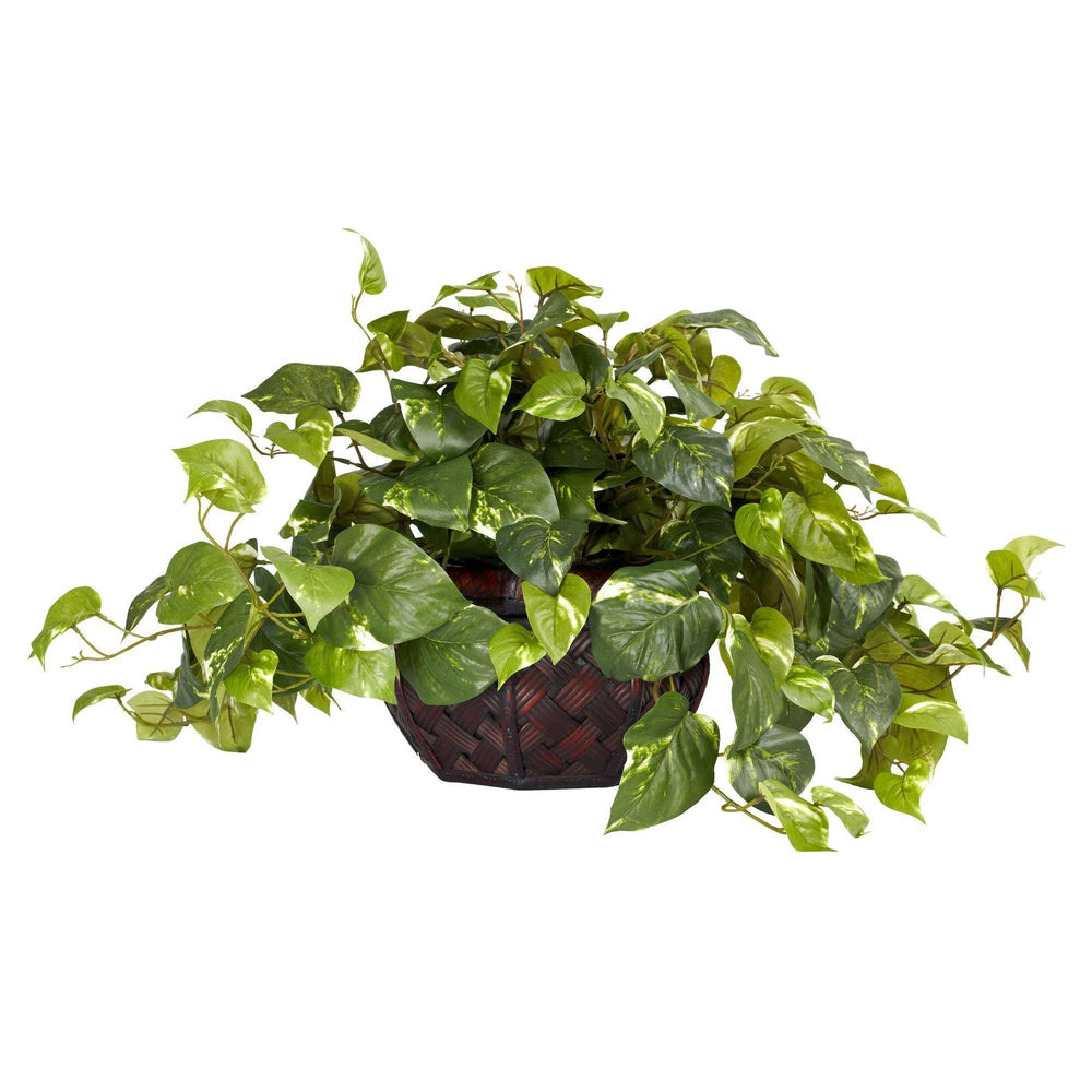"15"" Artificial Pothos w/Decorative Vase Silk Plant"