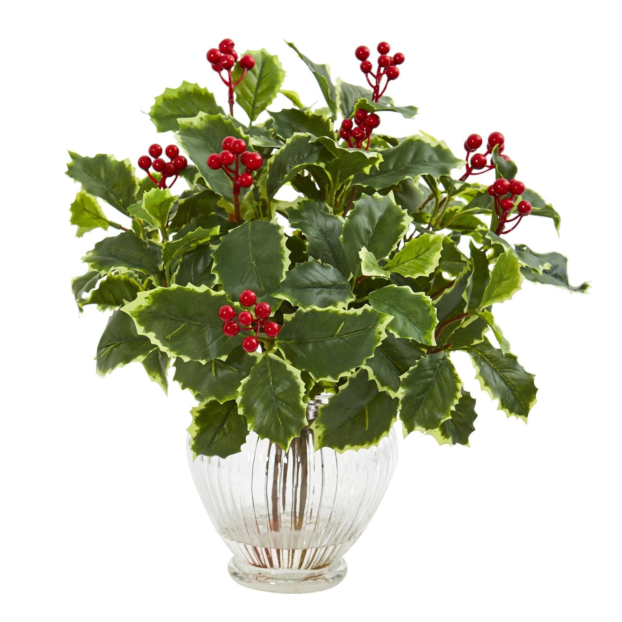 15 Variegated Holly Leaf Artificial Plant In Vase Real Touch Nearly Natural