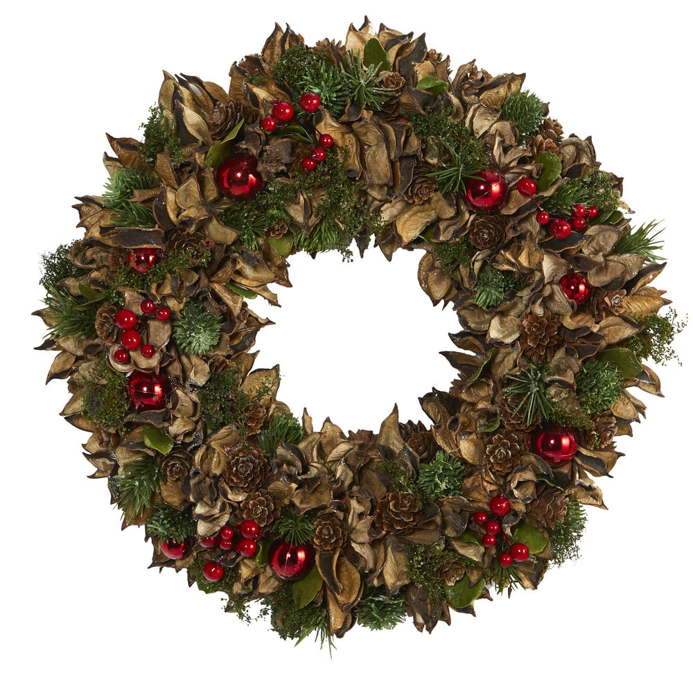 "15"" Holiday Artificial Wreath with Pine Cones and Ornaments"