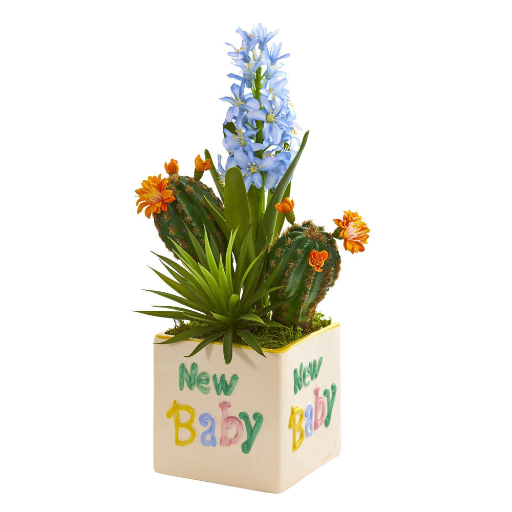 "15"" Hyacinth and Succulent Artificial Plant in ""New Baby"" Planter"