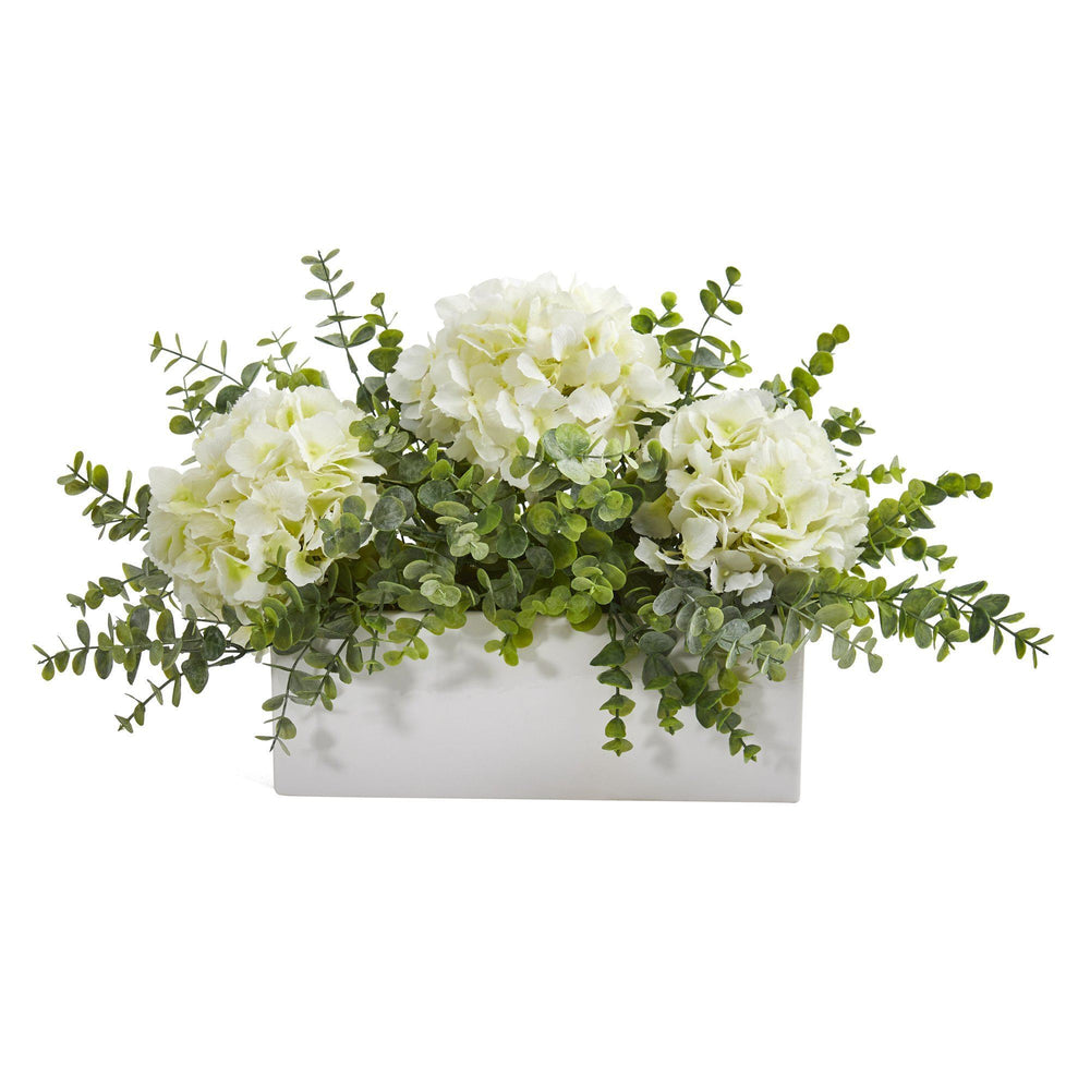 "15"" Hydrangea and Eucalyptus Artificial Arrangement in White Vase"