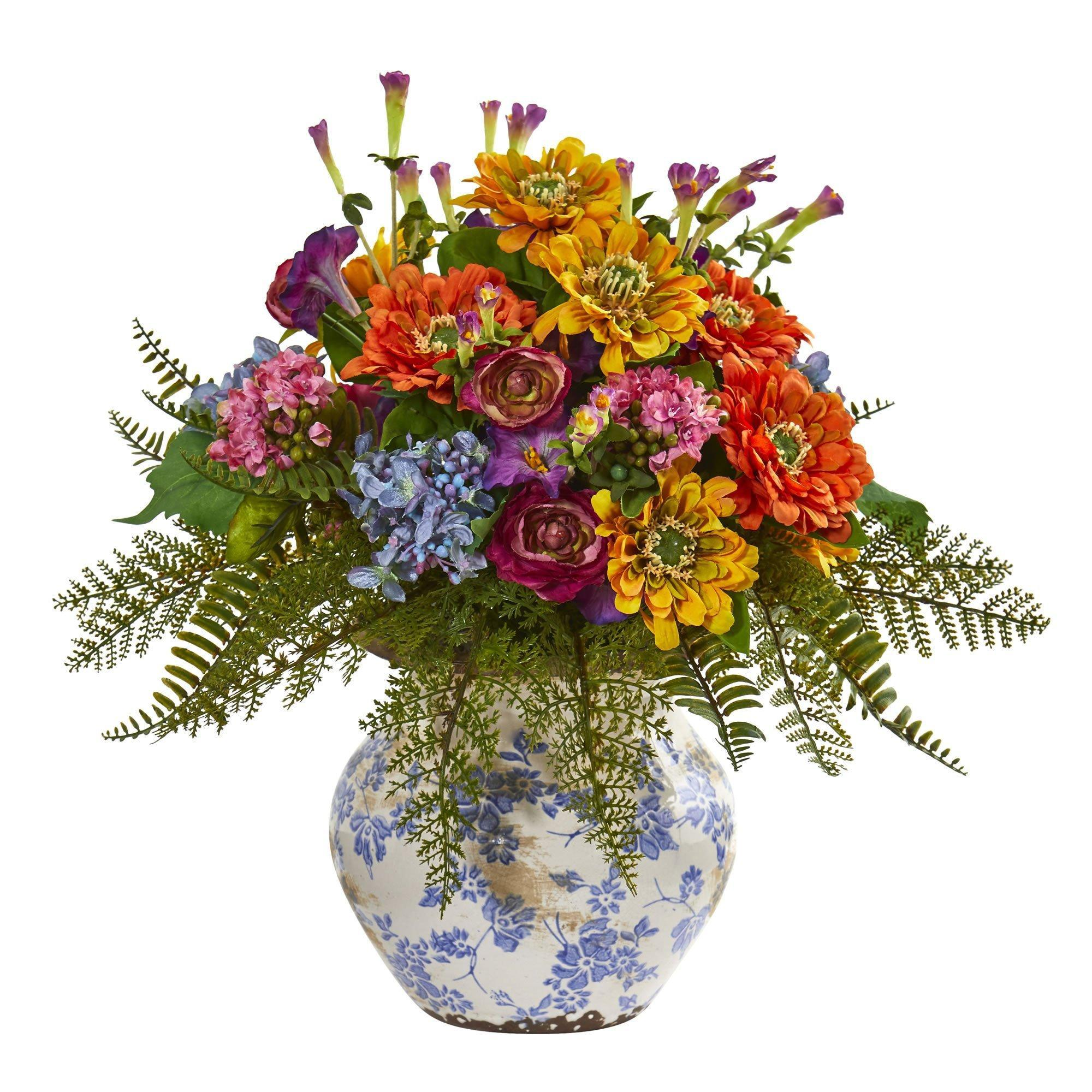 15 Mixed Floral Artificial Arrangement In Floral Vase Nearly Natural