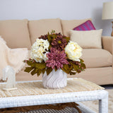 "15"" Peony, Hydrangea and Dahlia Artificial Arrangement in Marble Finished Vase"