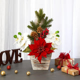 "15"" Poinsettia and Orchid Artificial Arrangement in Christmas Tree Vase"