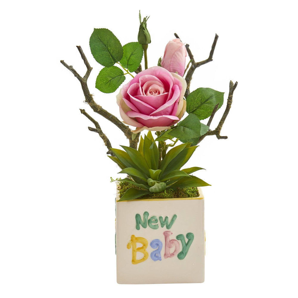 "15"" Rose and Agave Artificial Arrangement in ""New Baby"" Vase"