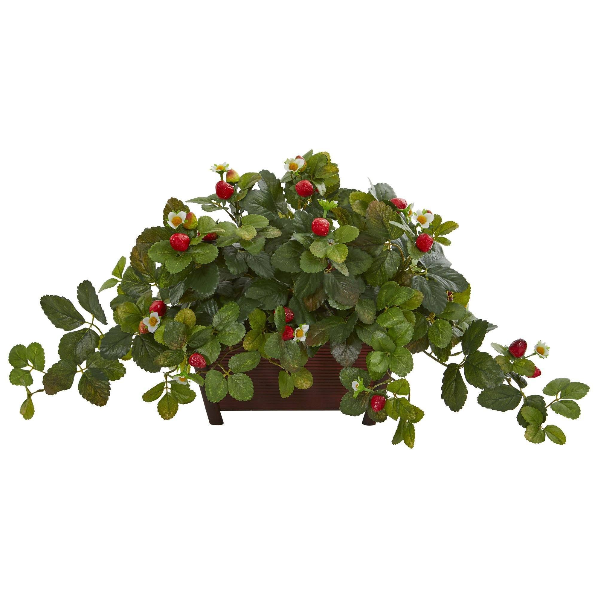 15 Strawberry Artificial Plant In Decorative Planter Nearly Natural