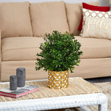"15"" Sweet Grass Artificial Plant Gold Planter (Indoor/Outdoor)"