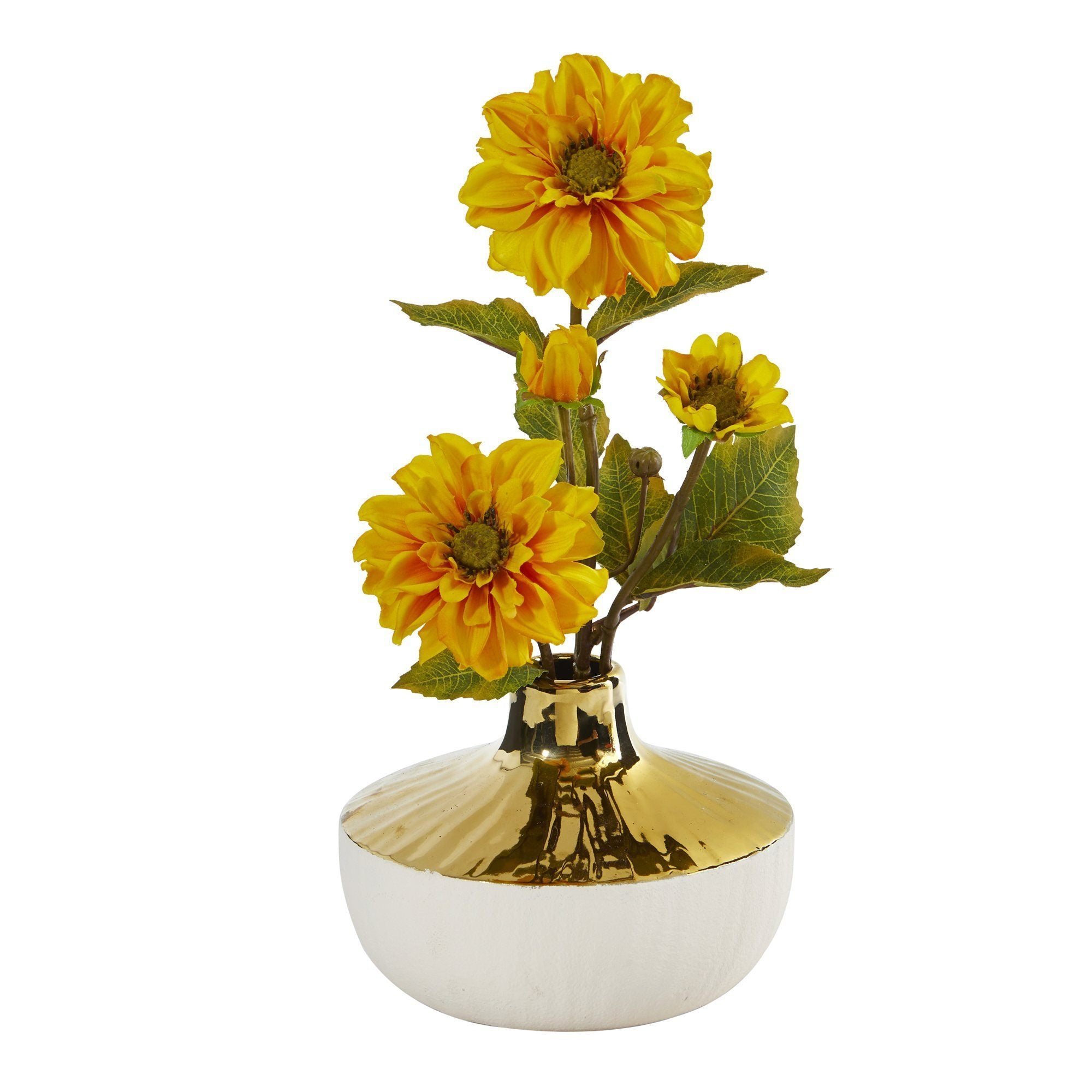 15 Zinnia Artificial Arrangement In Gold And Cream Elegant Vase Nearly Natural